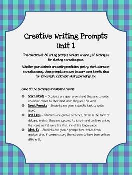 Creative Writing Prompts  Unit 1 Bundle