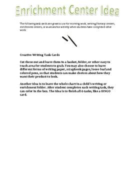 Creative Writing Task Cards/Enrichment Center