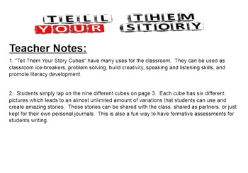 "Narrative Writing ""Tell Them Your Story Cubes"""