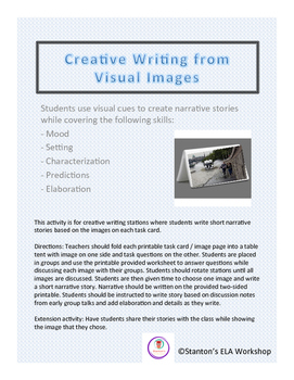 Creative Writing Stations with Visuals teaching Mood, Sett
