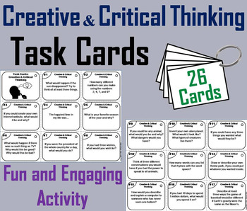 Creative and Critical Thinking Task Cards 2nd 3rd 4th 5th