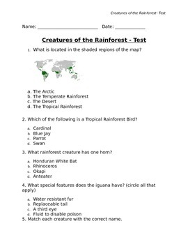 Creatures of the Tropical Rainforest Test and Answer Key w