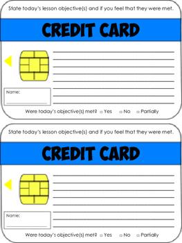 Credit Card Exit Ticket