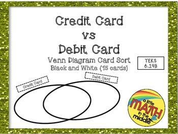 Credit Cards versus Debit Cards Sort Activity TEKS 6.14B