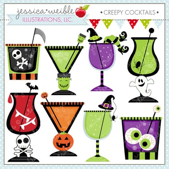 Creepy Cocktails Cute Digital Clipart, Halloween Clip Art