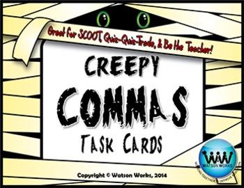 Creepy Commas Task Cards