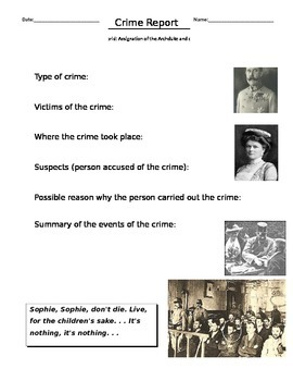 Crime Report the Assassination of Franz Ferdinand, Grade 1