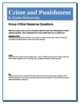 Crime and Punishment - Dostoyevsky - Group Critical Respon