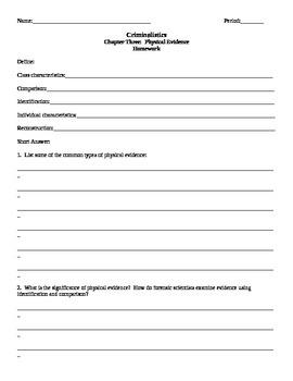 Criminalistics Chapter 3 Physical Evidence Homework Assign