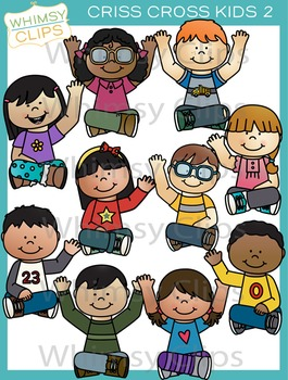 Kids Sitting Criss Cross Clip Art - Set Two