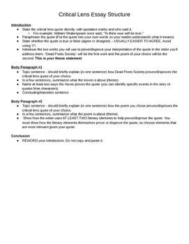 Critical Lens Essay Structure Explanation