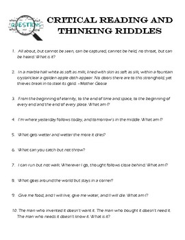 Critical Reading and Thinking Riddles