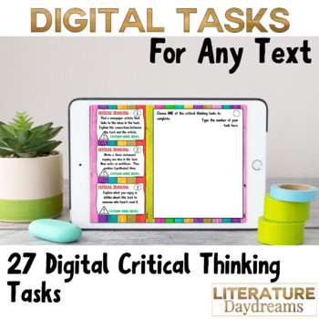 Literature Task Cards Critical Thinking Digital Learning pack