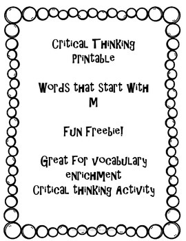 Critical Thinking Printable ~ Words that start with M