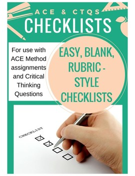 Critical Thinking Questions- ACE Method and Generic Rubric