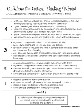 Pre k assessment rubric critical thinking