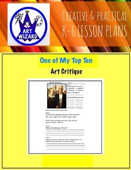 ART Critique is ... (6 Printable Art Worksheets) DBAE