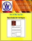 ART Critique is... Open-Ended  (6 Printable Art Worksheets)