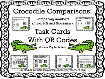 Crocodile Comparison!  Comparing Whole Numbers Task Cards