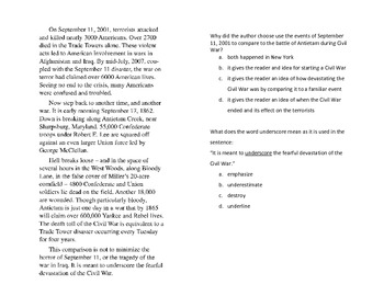 Cross Curricular Reading and SS Causes of the Civil War