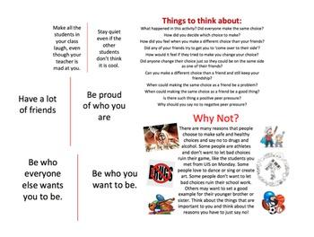 Red Ribbon Week Lesson: Cross the Line, Peer Pressure, Mak