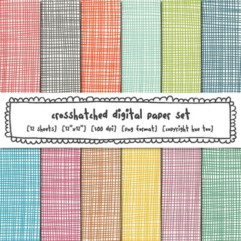 Crosshatch Digital Paper Set, Bright Rainbow Backgrounds f