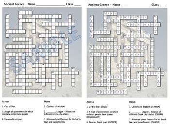 Crossword - Ancient Greece