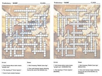 Crossword - Prehistoric Mankind