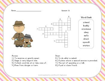 Crossword Puzzle - Officer Buckle and Gloria - Journeys Aligned