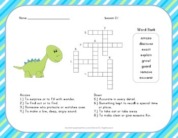Crossword Puzzle - The Dog that Dug for Dinosaurs - Journe