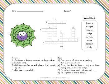 Crossword Puzzle - Diary of a Spider - Journeys Aligned