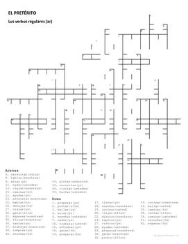 Preterite Crossword Puzzle: Regular AR verbs