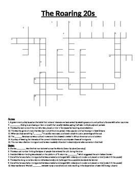 Crossword Puzzle- Roaring 20's