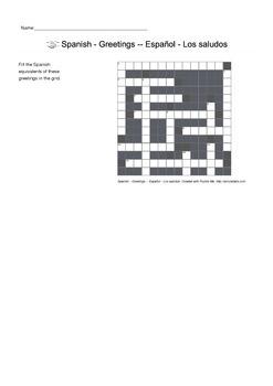 Spanish Vocabulary - Greetings Crossword Puzzle