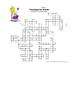 Crossword Puzzle - Troublesome Words for Grades 6-12