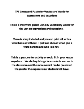 Crossword Puzzle for Vocabulary Words for Expressions and