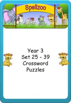 Crossword Puzzles for Year 3 Term 3 spelling lists