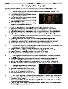 Crouching Tiger, Hidden Dragon Film (2000) 15-Question Mul