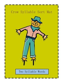 Crow Two and Three Syllable Sort game learning center activity