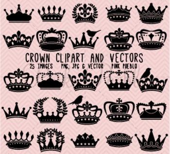 Crown Clipart Clip Art, Vintage Crown Silhouettes - Commer