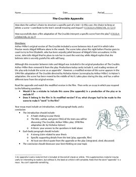 Crucible Appendix: Essay Prompt with Prewriting