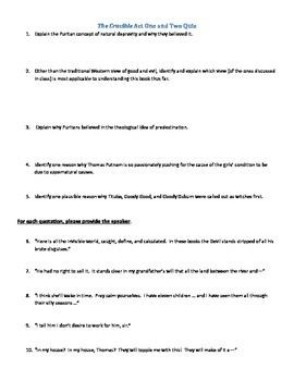 Crucible Quiz, Acts 1 & 2