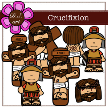 Crucifixion Digital Clipart (color and black&white)