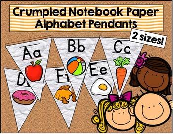 Crumpled Notebook Paper Alphabet Pendants in 2 sizes