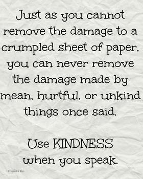 Crumpled Paper Kindness Bullying Classroom Poster Motivati