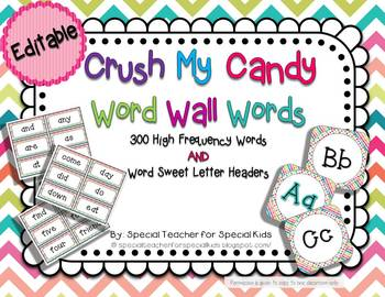 Crush My Candy *** Word Wall Words AND Letter Headers