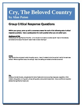 Cry, The Beloved Country - Paton - Group Critical Response