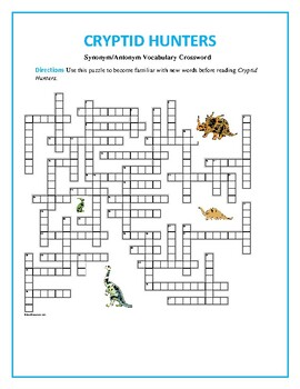 Cryptid Hunters: 50-word Prereading Crossword--Familiarize