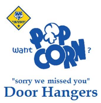 FREE Cub Scout Popcorn Sales DOOR HANGERS