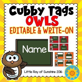 Cubby Tags-Owls: EDITABLE & WRITE-ON